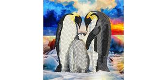 """Crystal Art Card Kit """"Penguin Family"""" 18 x 18 cm"""