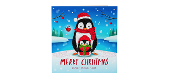 "Crystal Art Card Kit ""Penguin Gift"" 18 x 18 cm"