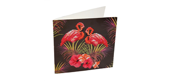 "Crystal Art Card Kit ""Pink Flamingo"" 18 x 18 cm"