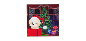 "Crystal Art Card Kit ""Puppy for Christmas"" 18 x 18 cm"