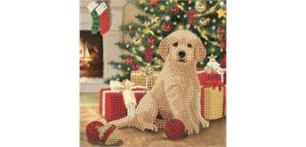 """Crystal Art Card Kit """"Puppy's First Christmas"""" 18 x 18 cm"""
