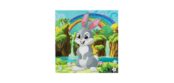 "Crystal Art Card Kit ""Rabbit Wonderland"" 18 x 18 cm"