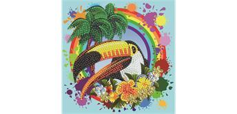 """Crystal Art Card Kit """"Rainbow Toucan"""" 18 x 18 cm"""