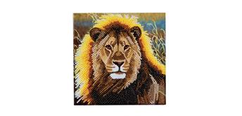 "Crystal Art Card Kit ""Resting Lion"" 18 x 18 cm"
