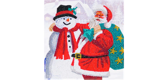"Crystal Art Card Kit ""Santa & Snowman"" 18 x 18 cm"