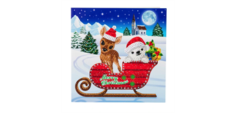 "Crystal Art Card Kit ""Sled Characters"" 18 x 18 cm"