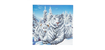 "Crystal Art Card Kit ""Snowy White Tiger"" 18 x 18 cm"