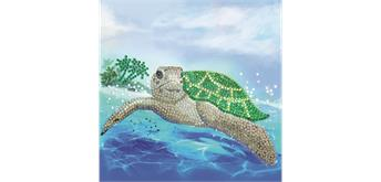 "Crystal Art Card Kit ""Turtle Paradise"" 18 x 18 cm"