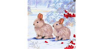 "Crystal Art Card Kit ""Winter Bunnies"" 18 x 18 cm"
