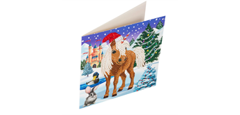 "Crystal Art Card Kit ""Winter Horse"" 18 x 18 cm"