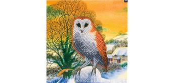 "Crystal Art Card Kit ""Winter Owl"" 18 x 18 cm"