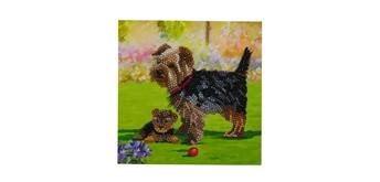 "Crystal Art Card Kit ""Yorkshire Terrier"" 18 x 18 cm"