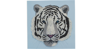 Crystal Art Card White Tiger Head 18 x 18 cm