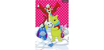 Crystal Art Card Winter Winnie the Pooh, 10 x 15 cm