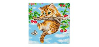 Crystal Art Cherry Kitten Framed Kit, 30 x 30 cm