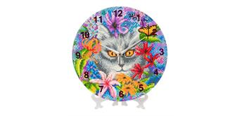 "Crystal Art ""Clever Cat"" Clock Kit 30 cm"