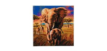 Crystal Art Elephanten in der Savanne, mit Rahmen 30 x 30 cm