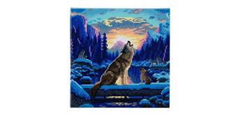 Crystal Art Howling Wolfves Framed Kit, 30 x 30 cm