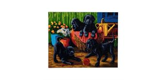 "Crystal Art Kit ""Black Labrador Pups"" 40 x 50 cm"