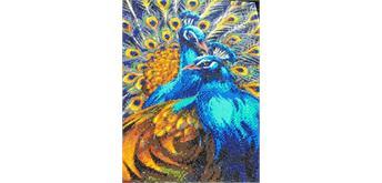 "Crystal Art Kit ""Blue Rhapsody Peacocks"" 40 x 50 cm, mit Rahmen"