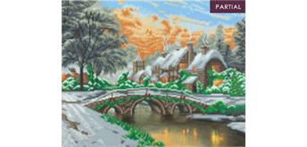 "Crystal Art Kit ""Cobblestone Christmas"" LED - 40 x 50 cm, mit Rahmen"