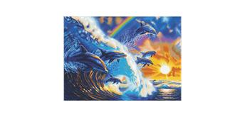 "Crystal Art Kit ""Dolphin Waves"", 90 x 65 cm, mit Rahmen"