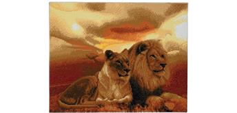 "Crystal Art Kit ""Lions of Savannah"" 40 x 50 cm, mit Rahmen"