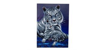 "Crystal Art Kit ""Loving Embrace White Tigers"" 65 x 90 cm, mit Rahmen"