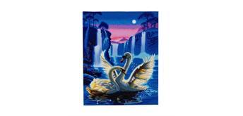 "Crystal Art Kit ""Moonlight Swans"" LED, 40 x 50 cm, mit Rahmen"
