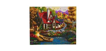 "Crystal Art Kit ""Riverside Cottage"" 40 x 50 cm, mit Rahmen"
