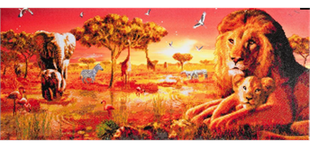 "Crystal Art Kit ""Safari Sunset"" Kit, 40 x 90 cm, mit Rahmen"