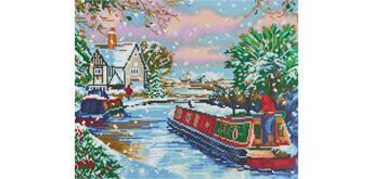 """Crystal Art Kit """"Snowy Canal"""" 40 x 50 cm"""