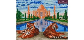 """Crystal Art Kit """"Taj Mahal Tigers"""" 40 x 50 cm, mit Rahmen"""