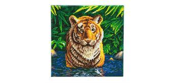 Crystal Art Kit Tiger im Wasser, 30 x 30 cm, mit Rahmen