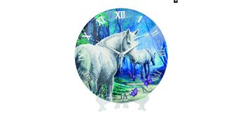 "Crystal Art Kit ""Unicorn"" Clock/Uhr, 30 cm"