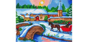 "Crystal Art Kit ""Winter Village"" 40 x 50 cm, mit Rahmen"