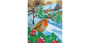"Crystal Art Kit ""Wintery Robin"" 40 x 50 cm"