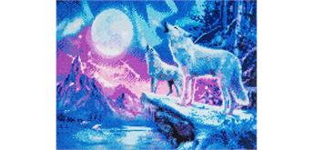 "Crystal Art Kit ""Wolves & Norhern Lights"" 40 x 50 cm, mit Rahmen"