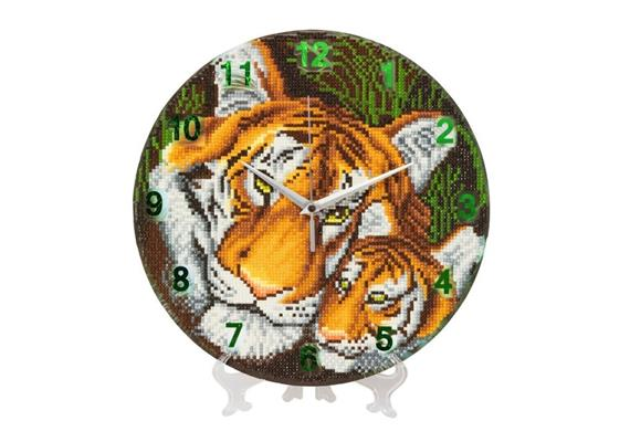 "Crystal Art ""Mother Tiger and Cub"" Clock Kit 30 cm"