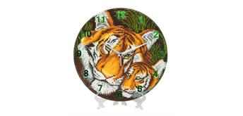 "Crystal Art ""Mother Tiger and Cub"" Clock Kit"