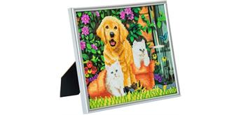 "Crystal Art ""Picture Frame Kit"" Cat and Dog 21 x 25 cm"