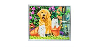"""Crystal Art """"Picture Frame Kit"""" Cat and Dog"""