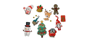 Crystal Art Sticker Christmas Characters Set of 10
