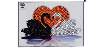 """Crystal Art Sticker """"Kissing Swans"""" Motif mit Werkzeug"""