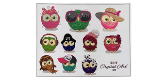 "Crystal Art Sticker ""Owl Life"" Sticker Set of 10"