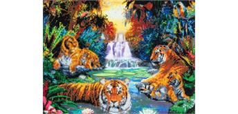"Crystal Art ""Tigers at the Jungle Pool"" Kit, 40 x 50 cm"