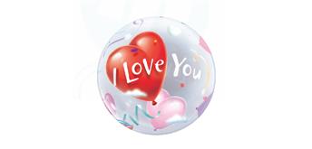 Deco Bubble Ø 56 cm I Love you rot & lila, ohne Füllung