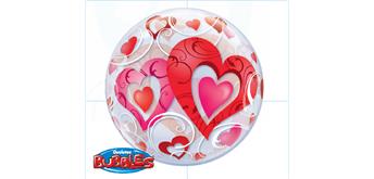 Deco Bubble Ø 56 cm rote Herzen, ohne Füllung