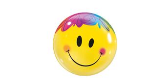 Deco Bubble Ø 56 cm, Smiley gelb, ohne Füllung