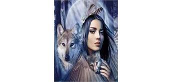 Diamond Painting Set H489 Wolf Lady 50 x 40 cm